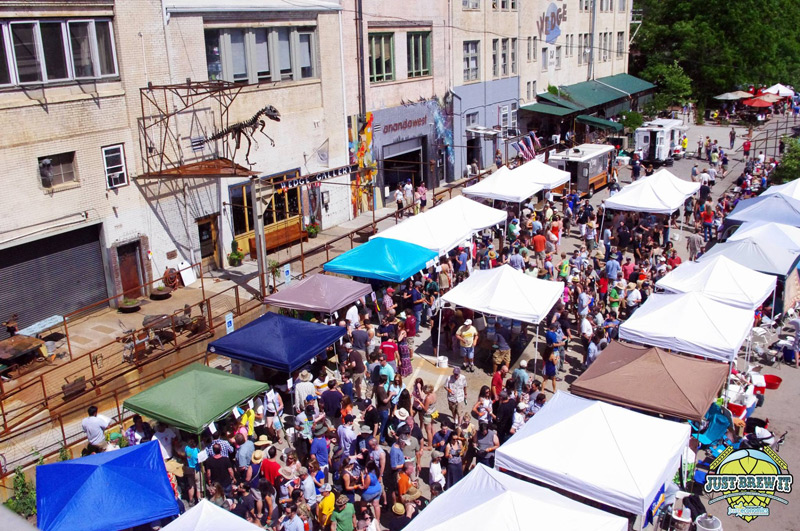 bird's eye view of just brew it street festival