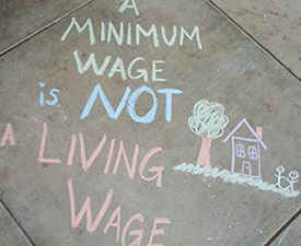 sidewalk chalk drawing living wage